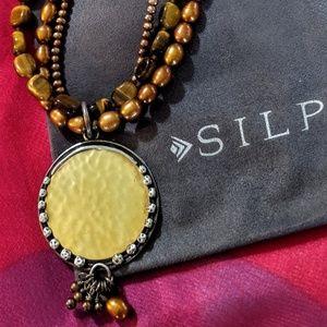 "Silpada Retired ""Tigers Eye"" Bronze Pearl Necklace"